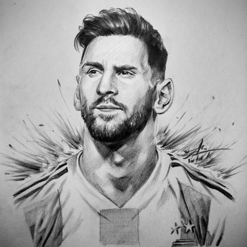 Trong trận đấu Argentina và Iceland diễn ra, Anh An vẽ chân dung khắc họa Messi.
