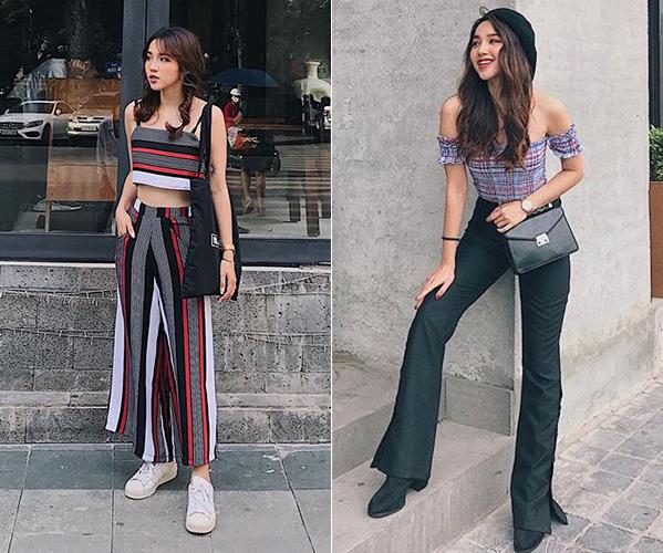 Ở đời thường, Linh Kiu cũng sở hữu gu ăn mặc ấn tượng, rất đáng học hỏi. Không có chiều cao quá chuẩn mực nên cô nàng rất biết cách ăn gian bằng các kiểu quần áo như croptop, quần cạp cao, ống loe...