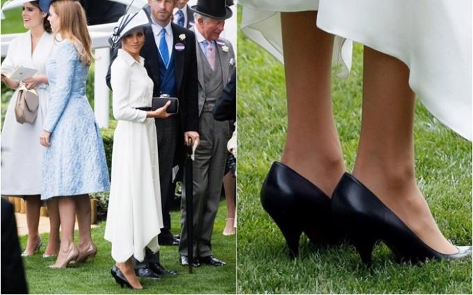 <p> Nhiều người nhận ra nữ công tước xứ Sussex đã đi một đôi giày cao gót quá cỡ tại sự kiện hoàng gia này. Đôi cao gót da màu đen hiệu Balenciaga có kích thước rộng hơn khoảng 5 milimet so với chân của Meghan.</p>