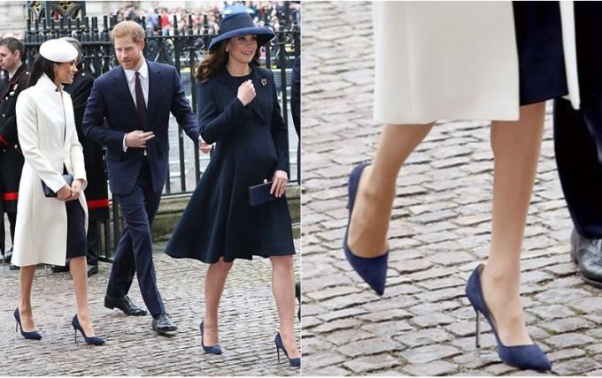 """<p> Harriet Davey, chuyên gia thời trang của <em>The Sun</em> lý giải: """"Không có gì tồi tệ hơn những đôi giày không thoải mái. Các ngôi sao thường phải đi giày cao gót liên tục khi tham dự sự kiện. Đó là lý do vì sao họ thường chọn những đôi giày có kích thước rộng hơn 1-2 size để tránh bị rộp và sưng gót chân"""". Ảnh: Meghan tại sự kiện hồi tháng 3 vừa qua.</p>"""