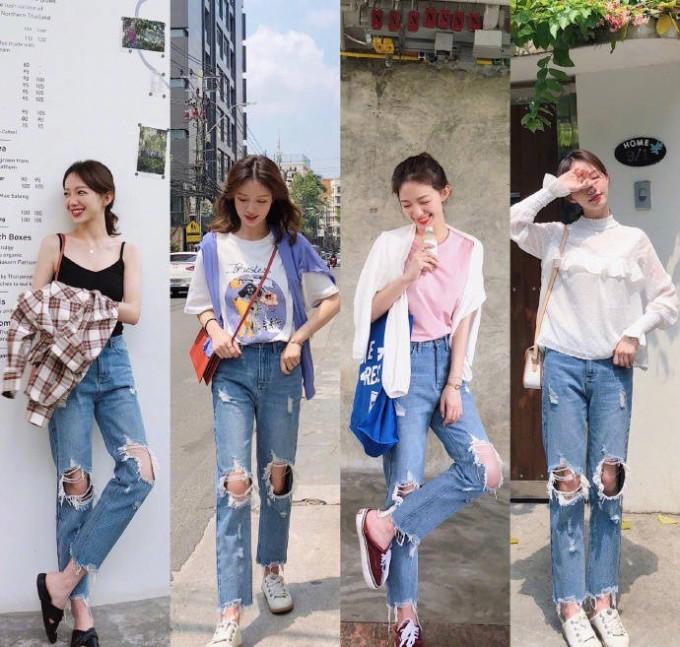 <p> Đừng tưởng jeans rách chỉ có thể phối cùng T-shirt. Một chiếc áo sơ mi bèo nhún đúng mốt năm nay cũng rất phù hợp nếu bạn mix với sneakers.</p>