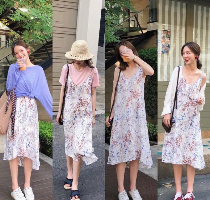 <p> Một chiếc váy hai dây hoa nhí cũng có vô vàn cách mix như mặc thêm áo phía ngoài/phía trong, khoác thêm sơ mi bên ngoài...</p>