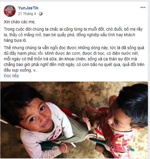 Fanpage YunJaeTik kêu gọi ủng hộ xây trường cho trẻ em ở Trà Mi.