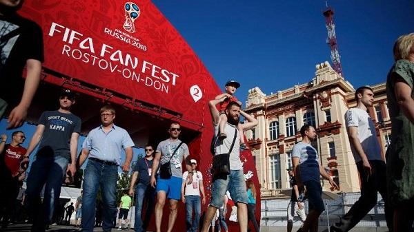 Các CĐV tại thành phố Rostov tại khu vực cổ động Fan Fest