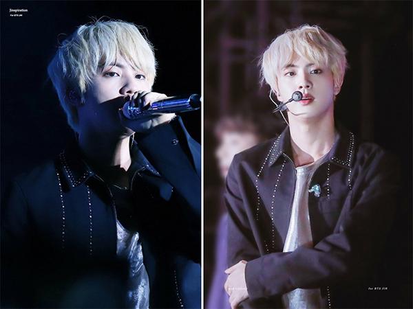 Cũng như cậu em út Jung Kook, anh cả BTS rất hiếm khi để những kiểu tóc sáng màu. Chính vì vậy khi thấy idol diện màu tóc vàng sữa trên sàn diễn, các fan đã tỏ ra vô cùng phấn khích bởi sự thay đổi diện mạo mới của Jin. Nhờ có làn da trắng muốt cùng gương mặt búng ra sữa, tóc vàng không những không thể dìm hàng nam thần Kpop mà còn khiến anh chàng nổi bật hơn so với những kiểu tóc khác.