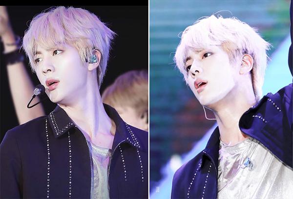 Màu tóc sáng khiến Jin toả ra khí chất của một hoàng tử đích thực, thu hút ánh nhìn của mọi cô gái.
