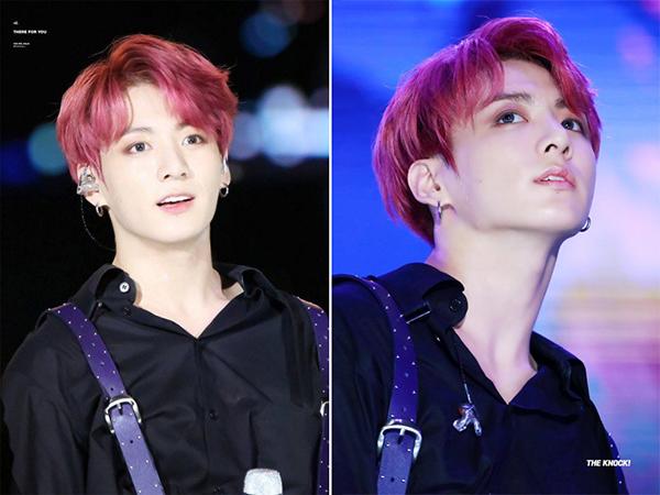 Dù để màu tóc sáng rực rỡ, em út tài năng của BTS vẫn giữ được nét đẹp mơ màng làm nên thưong hiệu của nam idol, đồng thời kiểu tóc mới cũng giúp anh chàng làm bao fan girl đổ rần rần vì quá đẹp trai.