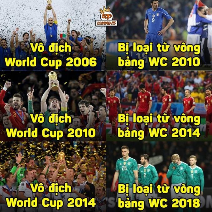 <p> - Brazil: Tụi tao muốn gặp Đức để báo thù trận thua 1-7.<br /> - Đức: Chờ 4 năm nữa nhé.</p>