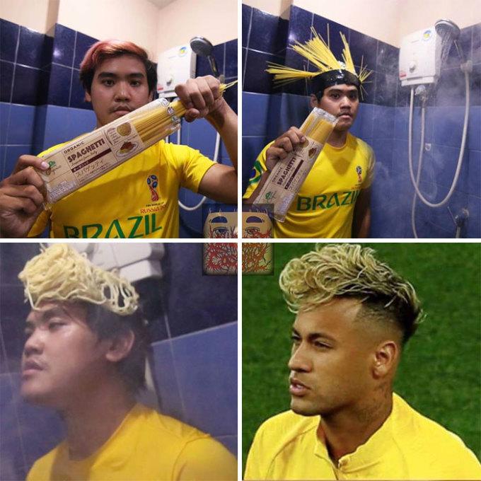 """<p> Tóc """"mỳ tôm"""" của Neymar chưa bao giờ hết hot.</p>"""