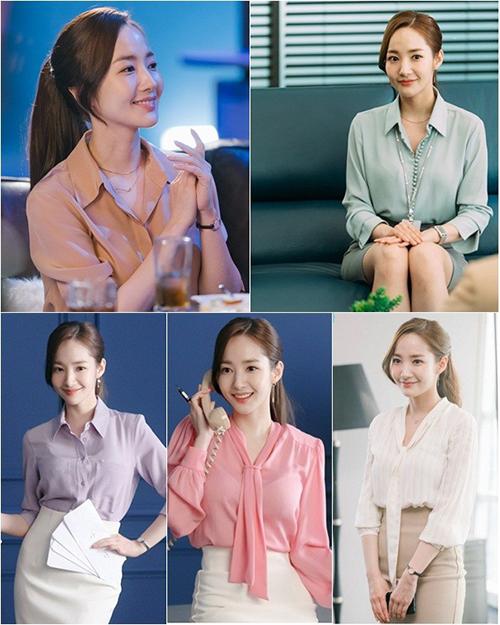 Thư kí Kim là một trong những nữ chính xinh đẹp đang được yêu thích nhất tại thời điểm này. Trang phục của Kim Mi So tuy kháđơn giản nhưng lại toát lên khí chất sang trọng, thanh tao.