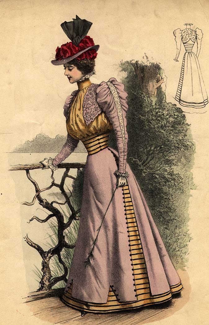 <p> Những năm 1900 là thời điểm áo corset nịt bụng thịnh hành trong giới phụ nữ thượng lưu tại châu Âu. Đây là món đồ thời trang giúp phụ nữ quý tộc có vòng eo lý tưởng, nâng ngực, đẩy phần mông nhô ra sau, tạo dáng chữ S quyến rũ. Các quý cô gần như phải mặc corset suốt cả ngày, trừ những buổi tiệc trà họ mới được phá lệ mặc những chiếc đầm trắng bằng chất liệu cotton thoải mái.</p>