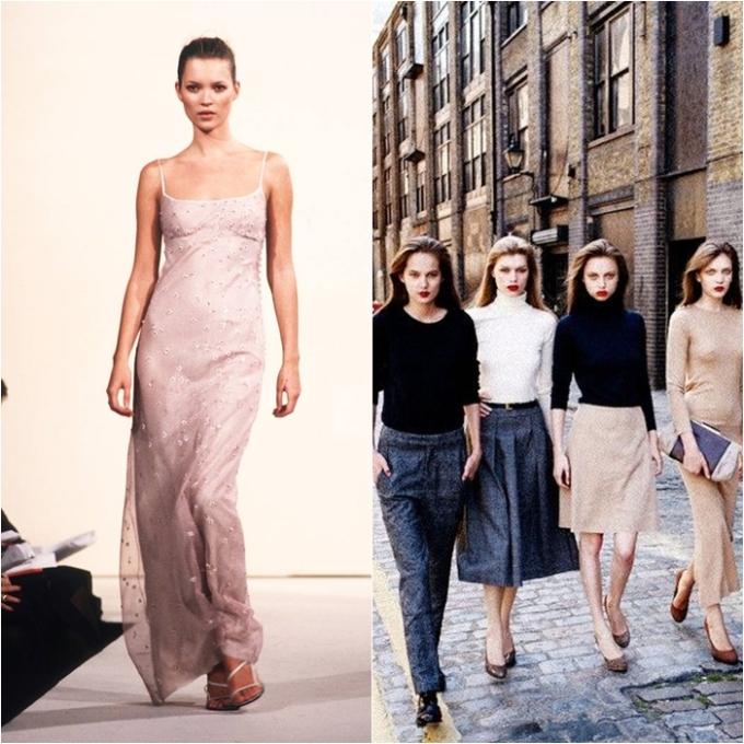 """<p> Bước sang thập niên 90, xu hướng tối giản (Minimalism) lại lên ngôi sau 2 thập kỷ thời trang """"màu mè và phức tạp"""". Ở xu hướng này, các thiết kế thời trang trung thành với tôn chỉ """"back to basic"""", hướng tới kiểu dáng đơn giản và những gam màu đơn sắc nhất có thể.</p>"""