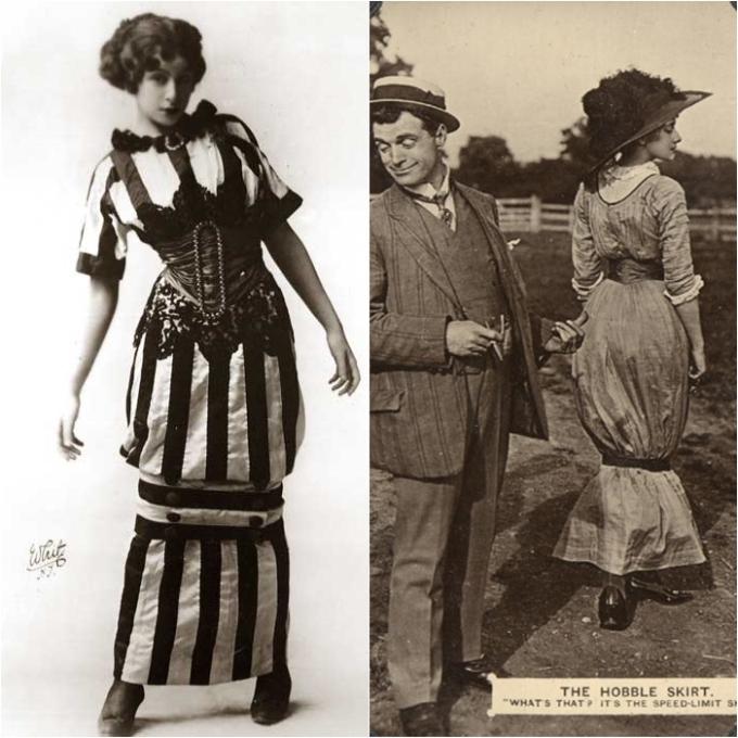 """<p> Bước sang thập niên 1910, phụ nữ quý tộc đã được giải phóng khỏi những chiếc corset gò bó để diện những chiếc đầm thoải mái hơn. Nhà thiết kế Paul Poiret là người sáng tạo nên xu hướng váy chụp đèn """"hobble skirt"""" có thiết kế túm ở phần gối. Đây là tiền đề để đến thập niên 40, Christian Dior thiết kế nên váy bút chì, loại váy thông dụng cho phụ nữ khắp mọi nơi trên thế giới.</p>"""