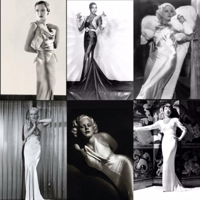 """<p> Thập niên 30 đánh dấu sự ra đời của đầm cắt chéo (Bias-Cut Gowns), loại đầm đã trở thành biểu tượng trong những buổi tiệc đêm. Thợ may nổi tiếng Madeleine Vionnet là người sáng tạo nên loại đầm với những đường cắt 45 độ, hướng tới sự mềm mại và độ rũ của vải lụa, satin… Đây là xu hướng thời trang được mệnh danh là """"một cuộc cách mạng giải phóng cơ thể phụ nữ"""", tôn vinh vẻ yêu kiều, nữ tính và lột tả được đường cong tự nhiên của phái đẹp.</p>"""