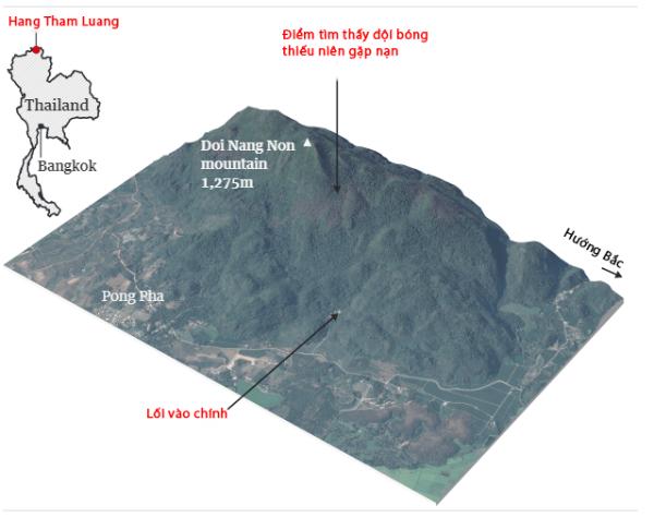 Đồ họa địa hình khu vực hang Tham Luang. Đồ họa: Guardian - Việt hóa: Anh Tú