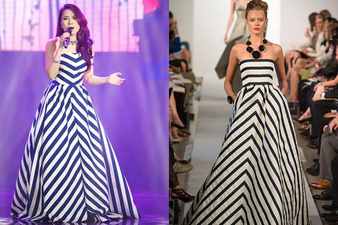 <p> Bộ đầm cúp ngực được xếp nếp bay bổng giúp Mỹ Tâm ghi điểm trong mắt công chúng. Tuy nhiên, chiếc váy trên bị tố có quá nhiều điểm trùng khớp với mẫu váy nằm trong BST của nhà mốt Oscar de la Renta từ họa tiết tới phom dáng.</p>
