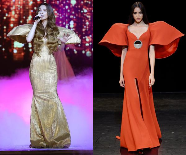 Trong đêm Chung kết Hoa hậu Đại dương Việt Nam hồi cuối năm 2017, Hồ Ngọc Hà xuất hiện cùng mẫu váy đuôi cá ấn tượng với phần vai xòe rộng như cánh hoa.