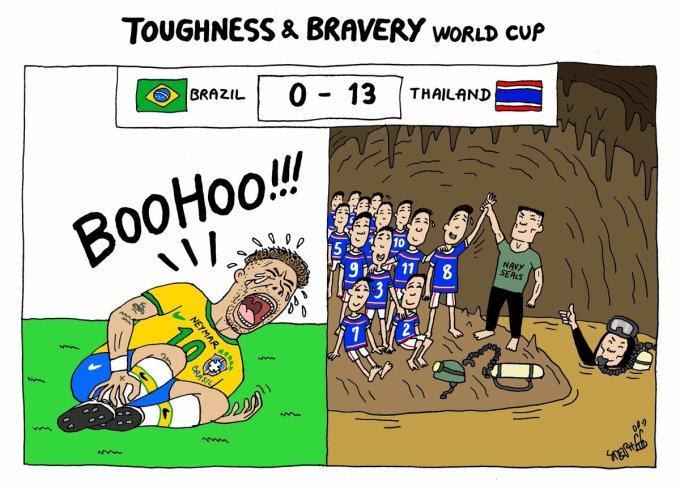 """<p> Bức tranh chế giễu tật """"ăn vạ"""" của Neymar đối lập với lòng dũng cảm của những cầu thủ nhí.</p>"""