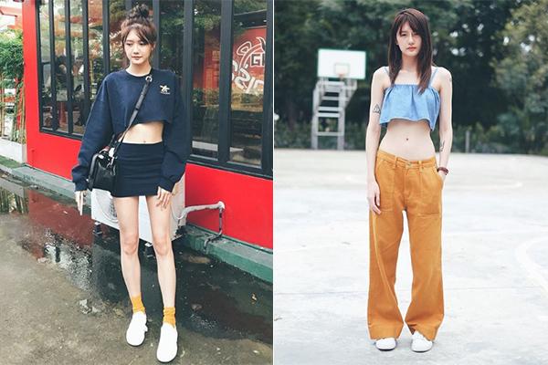 Hot girl này sở hữu vóc dáng rất lý tưởng với vòng eo con kiến và đôi chân dài miên man. Nàng mẫu trẻ rất thích các kiểu áo croptop và váy siêu ngắn, quần cạp trễ để khoe thân hình.