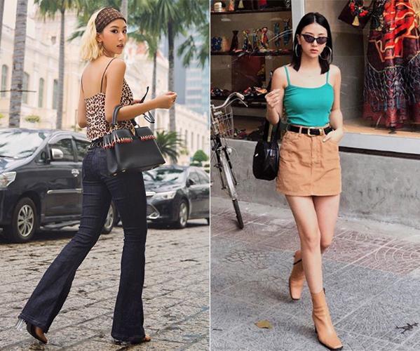 Áo hai dây siêu mảnh với thiết kế ôm dáng, gọn gàng giúp Quỳnh Anh Shyn tôn lên vóc dáng mảnh mai, kết hợp với đủ kiểu đồ từ chân váy denim cho đến quần ống loe cổ điển đều rất sành điệu.
