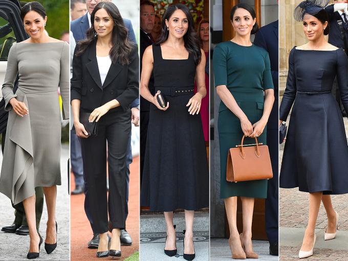 <p> MEGHAN MARKLE<br /> Trong suốt 24 giờ ở hai quốc gia, nữ công tước xứ Sussex đã khiến các fan trầm trồ với năm bộ trang phục. Những set đồ được Công nương lựa chọn bao gồm (từ trái sang):<br /> - Váy Roland Mouret, giày Paul Andrew và túi Fendi<br /> - Trang phục Givenchy, giày Sarah Flint<br /> - Váy Emilia Wickstead<br /> - Váy Givenchy, túi Strathberry, giày Paul Andrew da lộn<br /> - Váy và giày Dior</p>