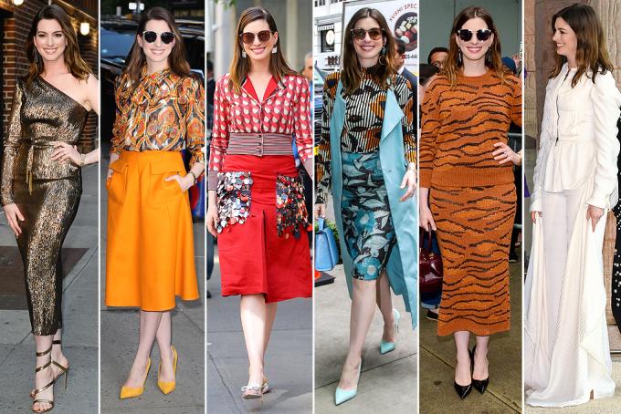<p> ANNE HATHAWAY<br /> 6 là số trang phục mà Anne mặc trong một ngày khi quảng bá cho bộ phim <em>Ocean 8</em>.</p>