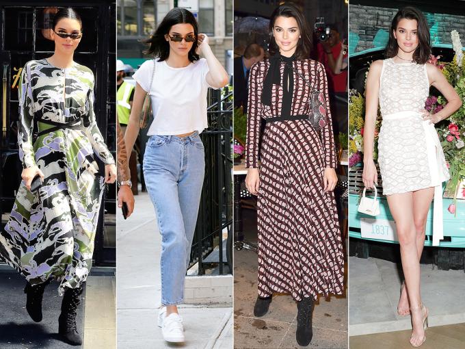 """<p> KENDALL JENNER<br /> Kendall đã có tới năm lần thay đổi trang phục trong một ngày bận rộn của mình ở New York. Cô nàng đã diện bộ hai váy dài tay kết hợp với giày da lộn trong buổi ra mắt bộ phim """"Longcharm"""". Tiếp đến là trang phục đường phố với quần jeans eo cao và áo phông croptop trắng. Cuối cùng là bộ váy body khoe đường cong quyến rũ của thương hiệu Elie Saab mini khi cô tới trung tâm thương mại Tiffany & Co.</p>"""