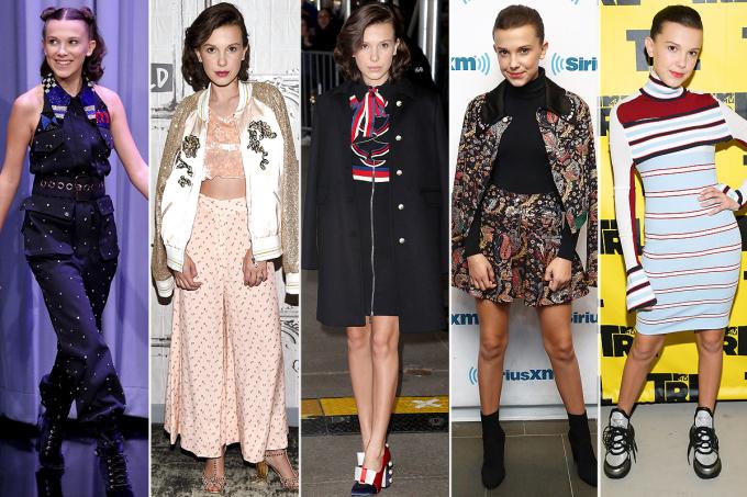 """<p> MILLIE BOBBY BROWN<br /> Nữ diễn viên, người mẫu người Anh chỉ mới 13 tuổi đã gây ấn tượng trong những bộ trang phục khi đi sự kiện. Ngôi sao """"Stranger Things"""" đã mặc một bộ áo liền quần Miu Miu với đôi giày của Giuseppe Zanotti; một bộ ba mảnh của Rodarte; một chiếc váy Gucci; một bodysuit Wolford dưới một bộ váy thổ cẩm; và một chiếc mini Louis Vuitton.</p>"""