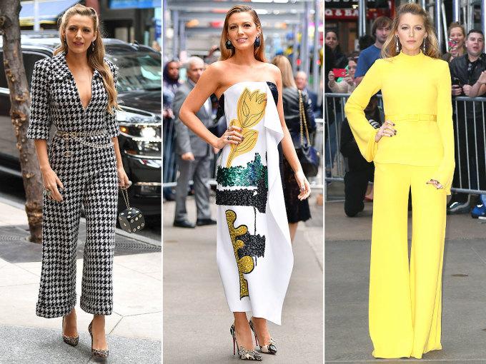 <p> BLAKE LIVELY<br /> Khi nhắc đến tần suất thay đổi trang phục của ngôi sao trong các tour du lịch cũng như các sự kiện và họp báo thì không thể không nhắc tới cô nàng Blake Lively. Trong hình là ba bộ đồ mà cô ấy thay đổi trong một ngày.</p>