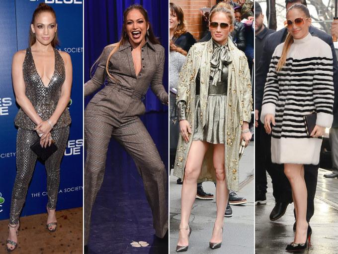 <p> JENNIFER LOPEZ<br /> Nữ diva J.Lo đã phải hối hả để thay đổi tới bốn bộ trang phục trong một ngày bao gồm: một trang phục Zuhair Murad; Sophie Theallet jumpsuit; một bộ quần áo kim loại Saint Laurent và một chiếc áo khoác Violetta Lilly.</p>