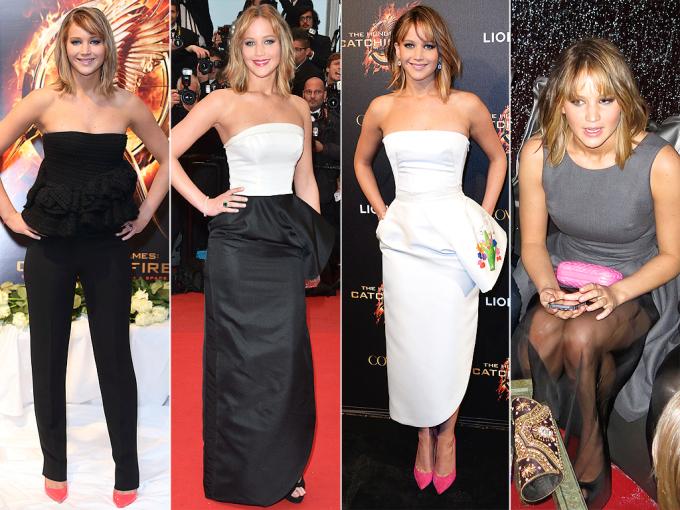<p> JENNIFER LAWRENCE<br /> Trong buổi ra mắt phim<em> Catching Fire </em>tại Pháp, cô nàng đã xuất hiện với 4 bộ trang phục khác nhau đến từ thương hiệu Dior mà Jennifer Lawrence là đại sứ.</p>