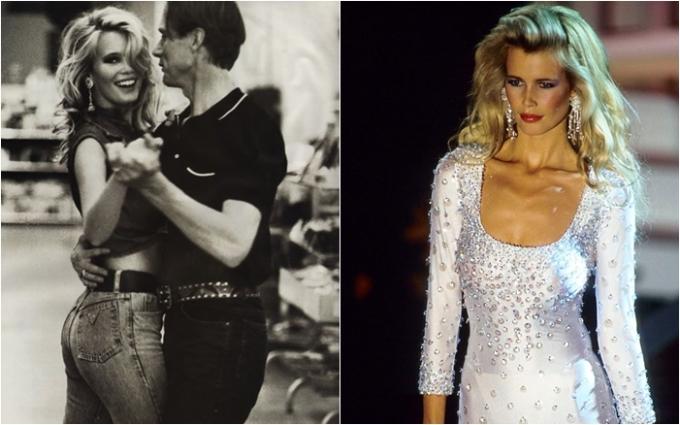 """<p> Tóc vàng, mắt xanh và cao 1,80m, người mẫu đến từ nước Đức Claudia Schiffer nhanh chóng trở thành tên tuổi đình đám của làng thời trang cao cấp và là """"cục cưng"""" của NTK Karl Lagerfeld lừng danh. Hình tượng Brigitte Bardot mà nhiếp ảnh gia Ellen Von Unwerth xây dựng cho Claudia trong chiến dịch quảng cáo của Guess Jeans năm 1991 đã trở thành huyền thoại được nhớ mãi trong lòng giới mộ điệu.</p>"""