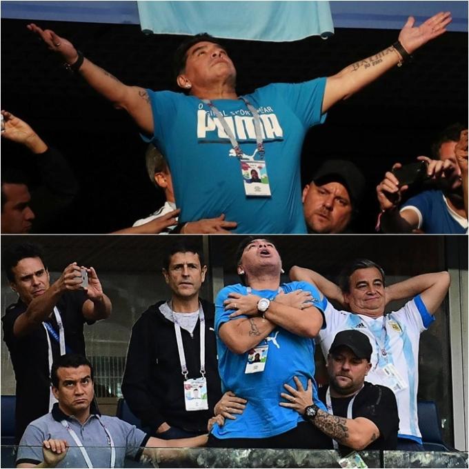 <p> Đủ mọi sắc thái biểu cảm của huyền thoại Diego Maradona khi chứng kiến Argentina thua thảm Croatia 0-3 ở vòng bảng.</p>