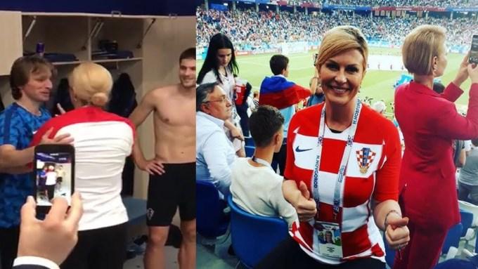 <p> Tổng thống Croatia vào tận phòng thay đồ chúc mừng đội tuyển quốc gia sau khi nước này vượt qua Nga để vào bán kết World Cup.</p>