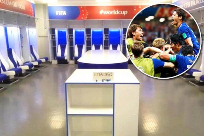 """<p> Sau khi thua Bỉ ở vòng 1/16, các cầu thủ đội tuyển Nhật Bản vẫn gạt bỏ nỗi buồn để ra về theo cách văn minh nhất. Hình ảnh phòng thay đồ đội tuyển Nhật Bản được dọn dẹp và vệ sinh sạch sẽ trước khi đội tuyển rời đi, kèm theo thông điệp """"cám ơn"""" viết bằng tiếng Nga đã trở thành cơn sốt trên mạng xã hội.</p>"""