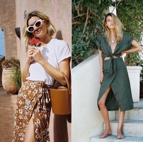 Hè này, rất nhiều thương hiệu đã nhiệt tình lăng xê wrap skirt với nhiều mẫu mã đa dạng từ chất liệu, họa tiết và kiểu dáng.