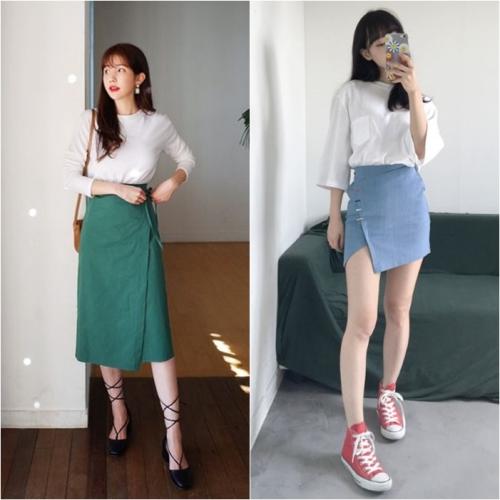 Váy quấn dáng ngắn là một lựa chọn hay ho khi đi dạo phố hoặc đi làm. Kết hợp cùng sơ mi, áo thun là bạn đã có một set đồ công sở duyên dáng rồi.