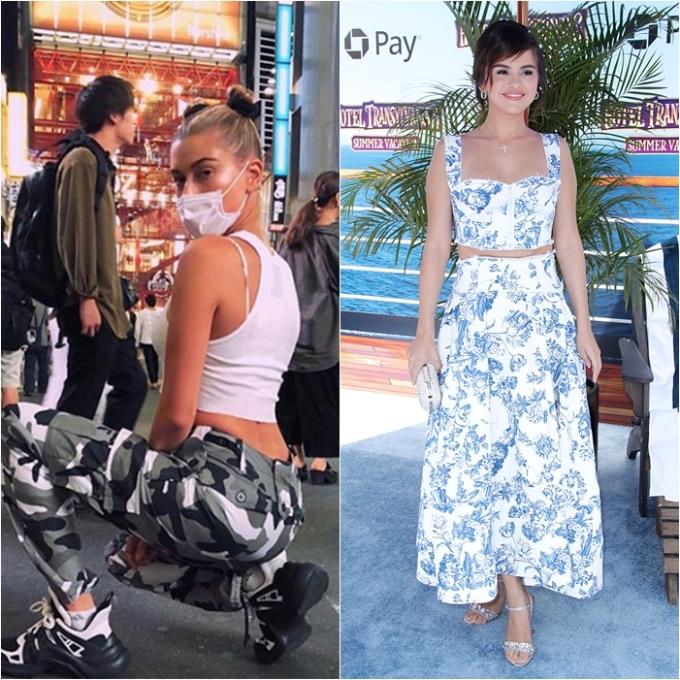 <p> Hailey trung thành với những item casual: tanktop màu trắng + quần jogger họa tiết quân đội cá tính trong chuyến du lịch Nhật Bản. Còn Selena, cô nàng xuất hiện với vẻ ngoài duyên dáng trong bộ đầm hoa đến dự buổi ra mắt bộ phim <em>Hotel Transylvania 3</em> ở Los Angeles.</p>