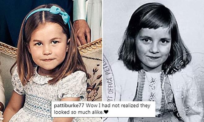 <p> Bức hình so sánh Công nương Dinana năm 4 tuổi và Charlotte chứng minh cả hai có nhiều nét giống nhau.</p>