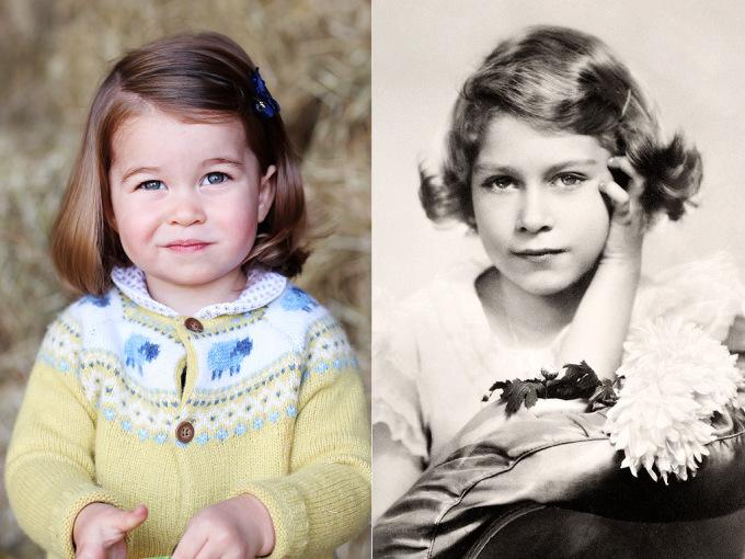 <p> Bên cạnh đó, nhiều người lại cho rằng Charlotte có nhiều nét tương đồng với Nữ Hoàng Elizabeth II hơn với gương mặt bầu bĩnh và đặc biệt là đôi mắt đặc trưng.</p>
