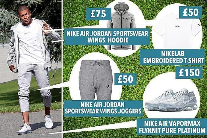 """<p> Mbappe mặc chiếc hoodie có giá 75 bảng Anh, áo phông 50 bảng, quần thun nỉ có giá 50 bảng và đôi Nike Air Vapormax có giá 150 bảng. Toàn set đồ vào khoảng 10 triệu đồng, chưa tới 1/1000 lương tháng. Một set đồ quá khiêm tốn so với một """"rich kid"""" tại Việt Nam.</p>"""