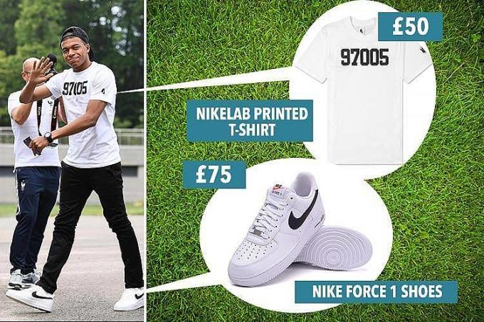 <p> Item yêu thích của ngôi sao người Pháp gốc Cameroon là áo phông trắng, quần skinny jeans, tracksuit và sneakers cổ điển. Mbappe mặc chiếc áo phông trắng có giá 50 bảng, chiếc skinny jeans đen có giá tầm 20 bảng và đi đôi Nike Air Force 1 có giá 75 bảng. Tổng cộng tầm 145 bảng (gần 4,5 triệu đồng).</p>