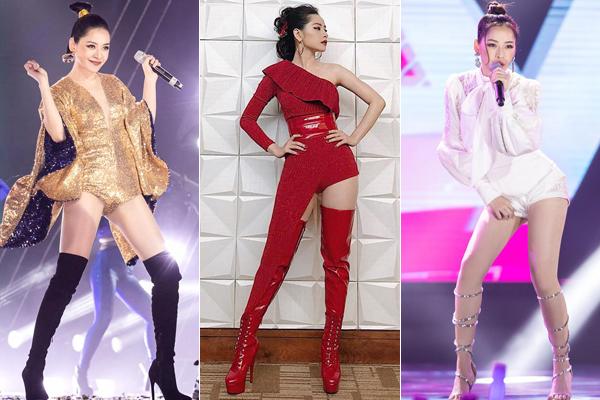 Nhằm giúp ăn gian chiều cao, Chi Pu rất chuộng trang phục diễn kiểu hot pants (quần siêu ngắn) kết hợp cùng boots cao và các kiểu tóc gọn gàng, thích hợp cho việc thực hiện các động tác vũ đạo.