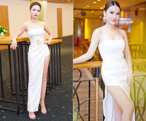 Lúc dự sự kiện, người đẹp thường ưu tiên các kiểu váy xẻ tà cao giúp đôi chân trông dài hơn, dáng cúp ngực, có thắt lưng ngang eo để tỷ lệ thân hình thêm cân đối.