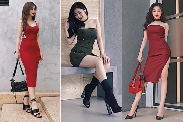 Những chiếc váy thun ôm sát khoe vóc dáng triệt để là trang phục ruột của Hương Tràm khi ra phố.