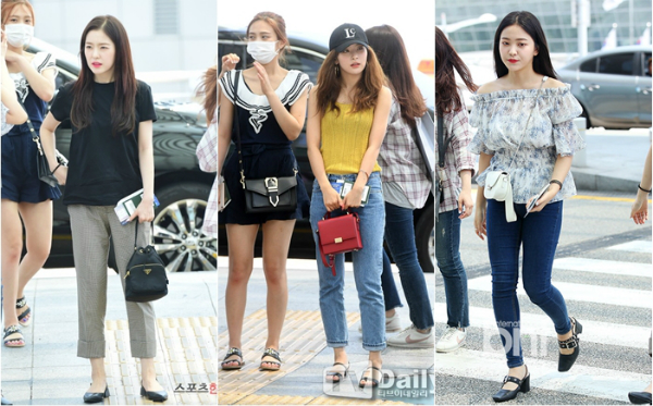 Red Velvet bị chê phối đồ dở tệ khi xuất hiện tại sân bay Incheon ngày 27/7.