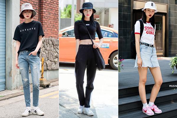 Lối mix phụ kiện đi kèm quần áo của họ cũng rất đặc trưng, thường là mũ lưỡi trai, mũ tai bèo, các kiểu túi tote, tất cao đến mắt cá chân... Phong cách này giúp con gái Hàn luôn trẻ trung như sinh viên.