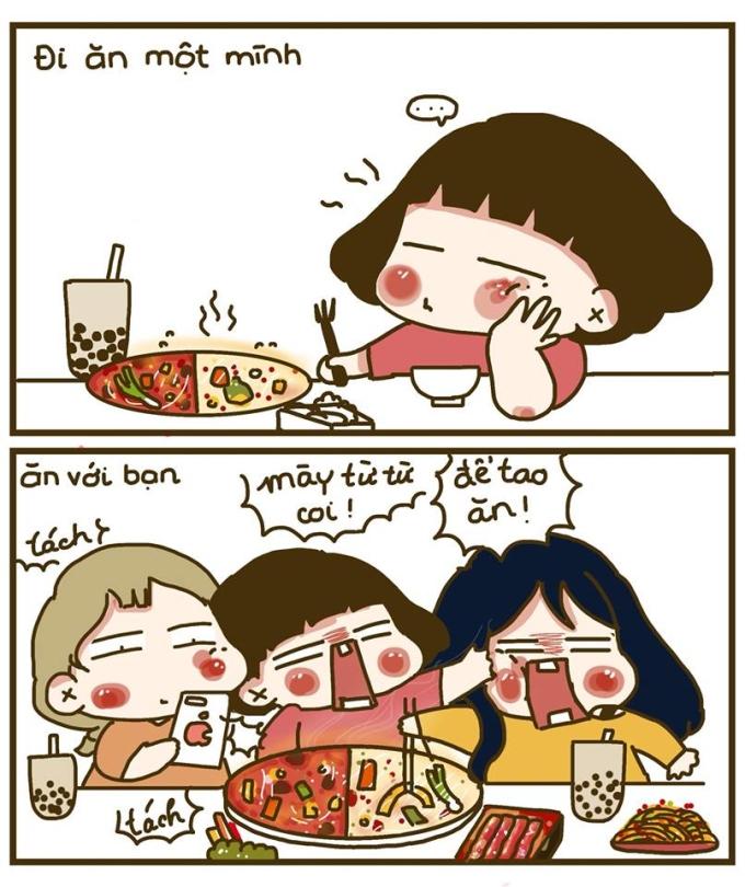 <p> Không như bạn tưởng tượng đâu, tụi con gái thật sự không hề hiền thục chút nào khi đứng trước đồ ăn ngon.</p>