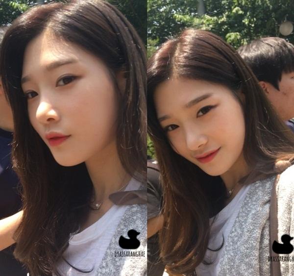 Nữ thần Kpop thế hệ mới Chae Yeon (DIA) không ngại khi bị chụp với ống kính zoom sát mặt.