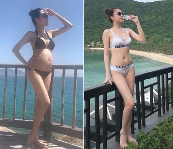 Chỉ khoảng 1 tháng sau khi sinh em bé, Ngọc Duyên đã tự tin diện bikini đi biển. Nữ hoàng sắc đẹp toàn cầu 2016 không có nhiều khác biệt trước và khi lên chức mẹ. Cô vẫn giữ chế độ ăn uống, tập luyện cũ, tự tin diện những bộ trang phục bó sát khi đi sự kiện.